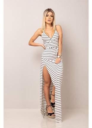 Vestido envelope sereia - white striped