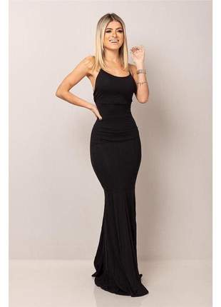 Vestido longo sereia - empina bumbum - black