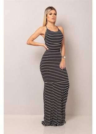 Vestido longo sereia - empina bumbum - black striped