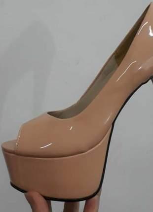 Sapatos femininos peep toe mega pata