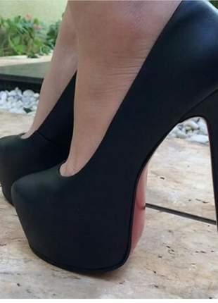 Sapatos femininos scarpins plataforma salto 15 cm