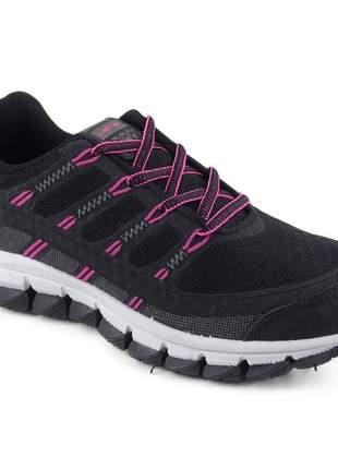 Tênis preto/pink feminino esportivo lets power corrida academia treinos