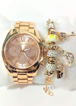 Kit 3 relógios feminino dourado e rosé