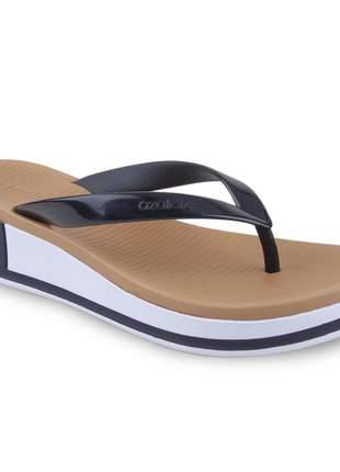 Sandália preta/branca feminina salto anabela azaléa tamanco plataforma