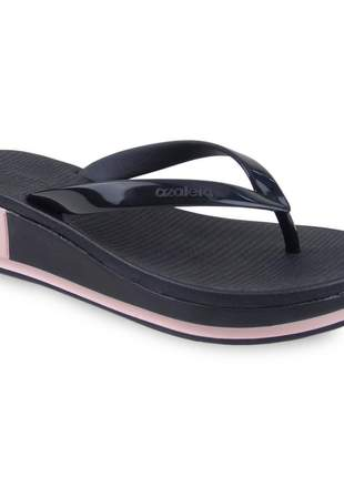 Sandália preta/rosa feminina salto anabela azaléa tamanco plataforma