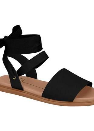 Sandália feminina moleca rasteira de amarrar no tornozelo com laço preto