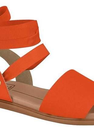 Sandália feminina moleca rasteira de amarrar no tornozelo com laço laranja