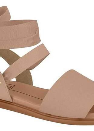 Sandália feminina moleca rasteira de amarrar no tornozelo com laço nude