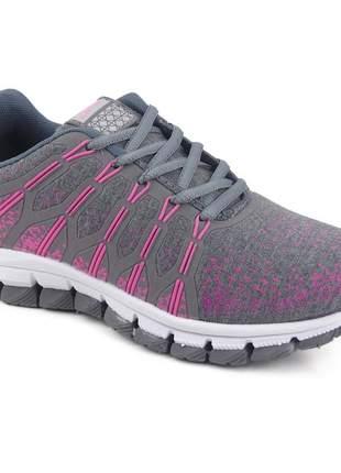 Tênis feminino esportivo caminhada academia casual let's grafite/pink