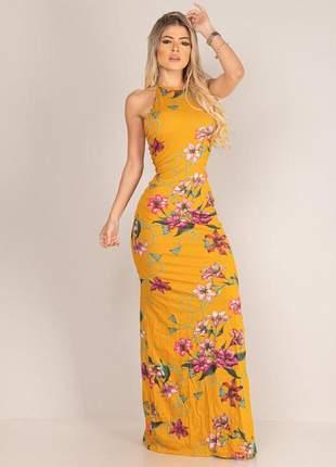 Vestido longo tirinhas - mustard