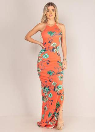 Vestido longo tirinhas - orange