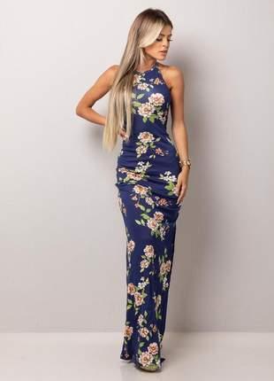 Vestido longo tirinhas - navy blue