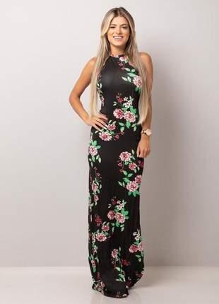 Vestido longo tirinhas - flowery black