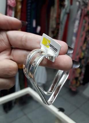 Brinco argola coração em prata