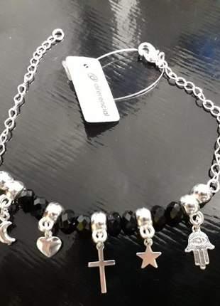 Pulseira pingentes em prata com pedras pretas