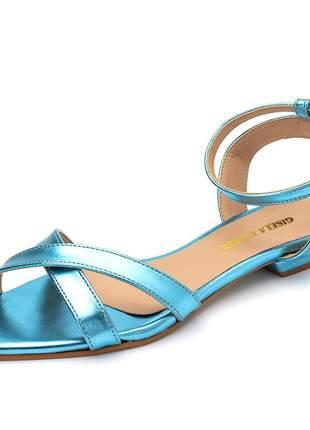 Sandália rasteira bico fino tiras cruzadas azul serenity metalizado fivela