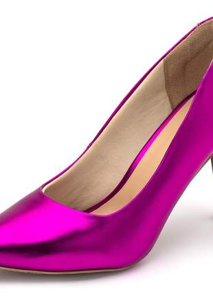 Sapato scarpin feminino salto alto fino em rosa pink metalizado