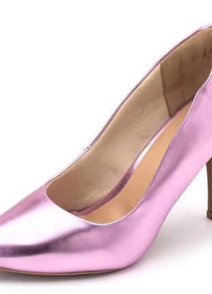 Sapato scarpin feminino salto alto fino em rosa metalizado