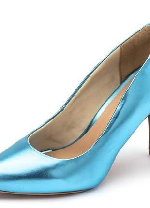 Sapato scarpin feminino salto alto fino azul serenity metalizado