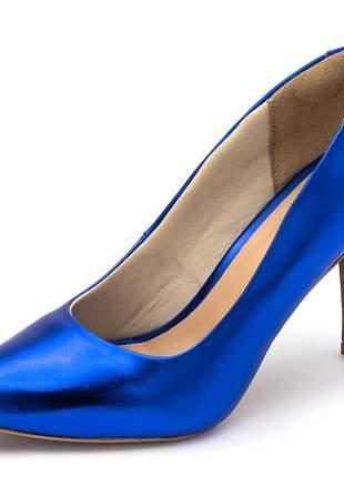 Sapato scarpin feminino salto alto fino em azul metalizado