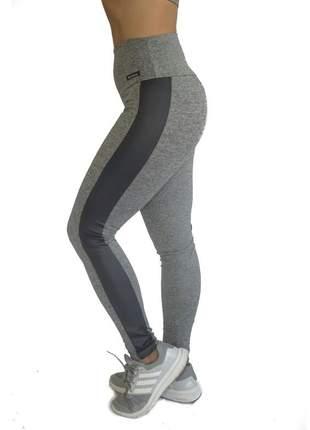 Legging cinza mescla com faixa preta