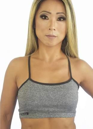 Top feminino fitness cinza mescla sem bojo