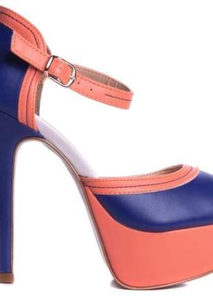 Sandálias femininas meia pata bicolor edição limitada