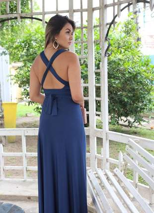 Vestido longo azul marinho barato várias formas azul marsala rosê multiformas amarrar