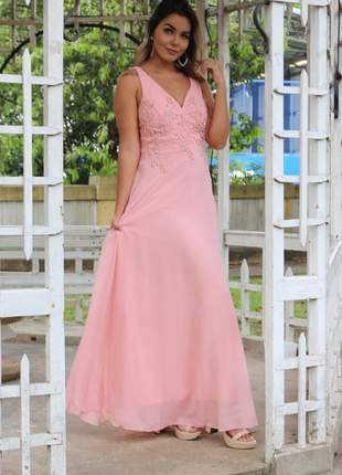 Vestido de festa bordado rosê e marsala luxo e elegância!