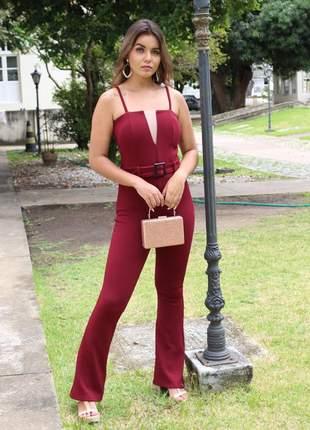 Macacão feminino social blogueira elegante justo várias cores