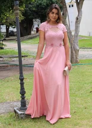 Vestido de festa rosa rosê manguinha moda evangélica madrinha gestante