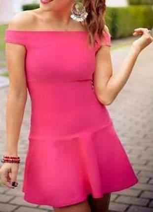 Vestido curto com babado ombro a ombro moda feminina