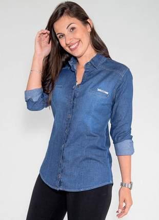 Camisa jeans feminina revanche manga longa azul