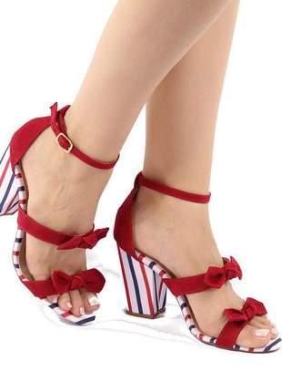 Sapato sandália feminina salto grosso bloco vermelha listrada