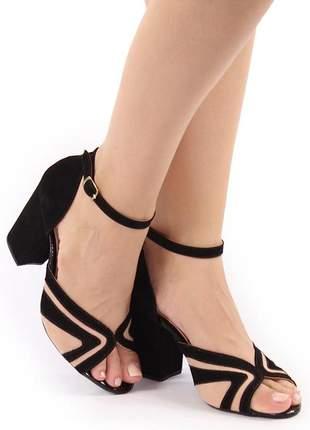 Sapato sandália feminina salto bloco grosso  nude / preto