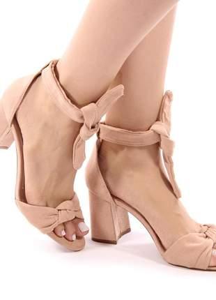 Sapato sandália salto grosso bloco nobuck nude