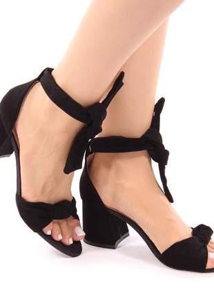 Sapato sandália salto grosso nobuck preto