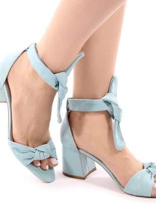 Sandália salto grosso nobuck azul pistache