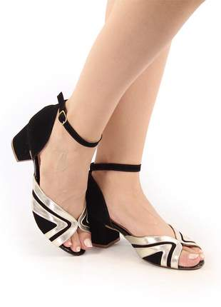 Sapato sandália salto grosso baixo preto / ouro