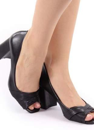Peep toe salto grosso preto