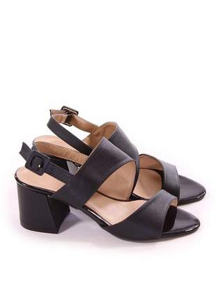 Sandália salto grosso preto
