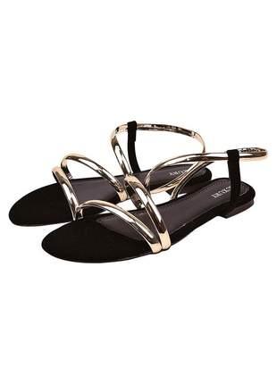 Sandália feminina rasteira ouro/preto nobuck