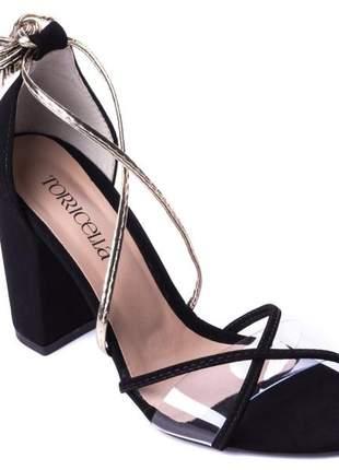 Sandálias femininas de amarrar  salto bloco