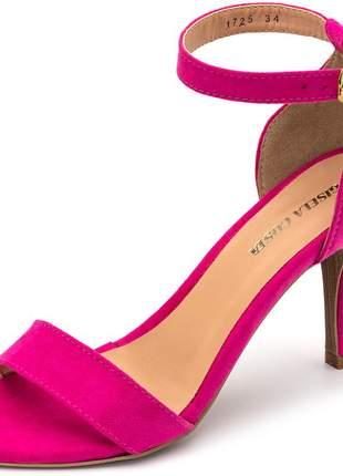 Sandália social tira camurça rosa pink fivela