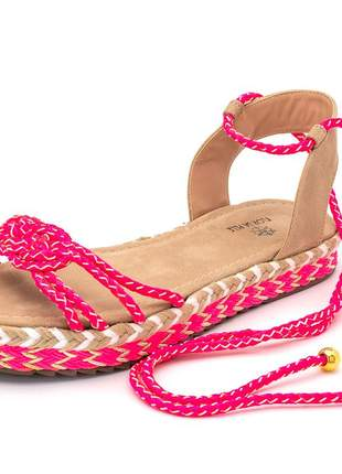 Sandália espadrille flat avarca em cordão rosa pink