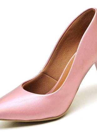 Sapato scarpins rosê metalizado salto médio fino