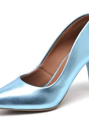 Sapato scarpins azul celeste metalizado salto médio fino