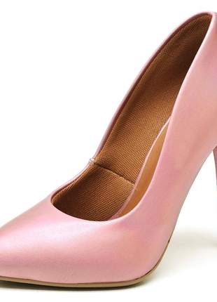 Sapato scarpins rosê metalizado salto alto fino 11 cm