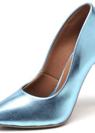 Sapato scarpins azul celeste metalizado salto alto fino 11 cm