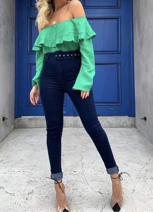 Calça jeans jegging skinny com cinto encapado frete grátis